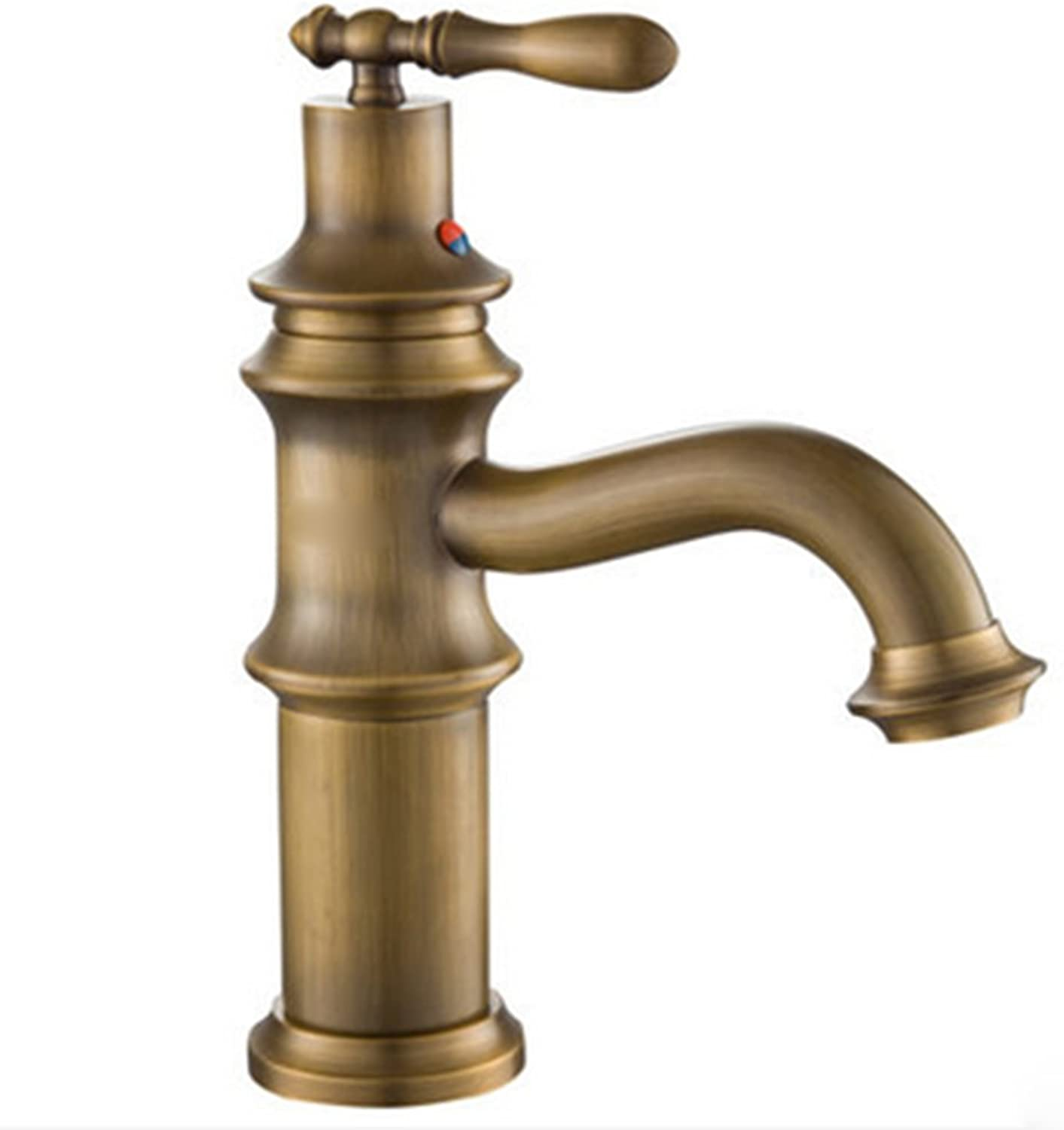 Full Copper Bronze Faucet, Bathroom Cabinet hot and Cold Faucet, Retro Carved Faucet