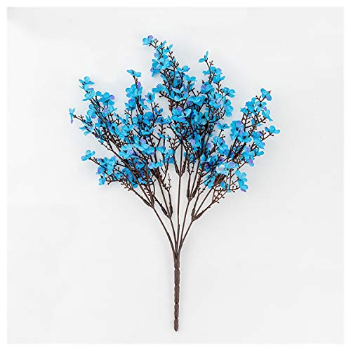 HETHYAN Silk Artificial Flowers For Decoration Home Plastic Stem Bride Wedding Bouquet Mariage Cherry Blossom Fake Flower DIY (Color : Blue)