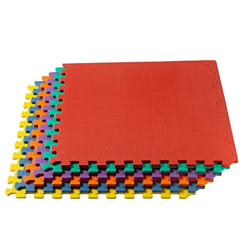 We Sell Mats Multipurpose Exercise Floor Mat with EVA Foam, Interlocking Tiles, Anti-Fatigue, for Home or Gym, 140 Square Feet (35 Tiles), 24 x 24 x 3/8 Inches, Multi-Color