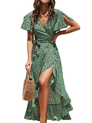 BerryGo Women's Boho V Neck Ruffle Floral Wrap Maxi Dress Green