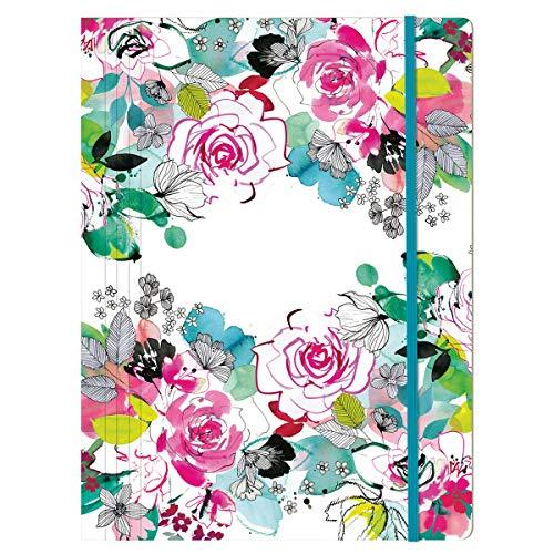 Clairefontaine 115565C - Une Chemise A Elastique Cartonnée 3 Rabats A4 motifs Floral - Finition Vernis sur motifs noirs - Collection Blooming