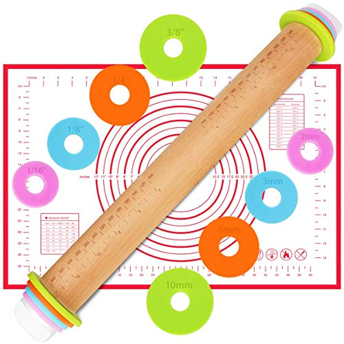 Rolling Pin, MKG Adjustable Roller Pin with Silicone Baking Mat, 4 Removable Thickness Rings for Baking Dough, Pizza, Pie, Pastries, Pasta and Cookies,...