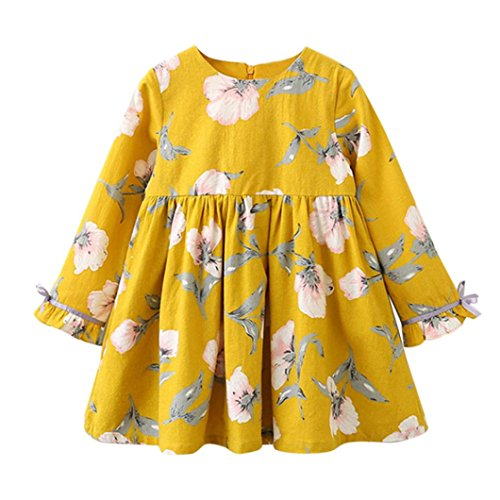 Mädchen Kleider Kinder Kleid Longra Weiches Baumwolle Floral Bowknot Kleid Party Hochzeit Beiläufig Prinzessin Kleider (140CM 7Jahre, Yellow)
