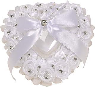 Amosfun Heart Shape wedding ring pillow ring bearer pillow wedding party favors supplies (White)