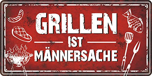 AV Andrea Verlag Großes Metallschild rostfrei Blechschild Schild mit lustigem Spruch im Vintage Retro Look (Grillen ist Männersache 33512)