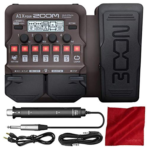Zoom A1X FOUR Acoustic Instrument Multi-Effect Processor with Expression Pedal for Acoustic Guitar, Saxophone, Trumpet, Violin, Harmonica or Acoustic Bass + Cables & Fibertique Cleaning Cloth