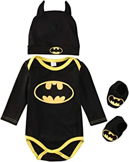 N/A Whitzard Strampler Set Junge Batman Strampler Hut Schuhe dreiteilige Kleidung Set