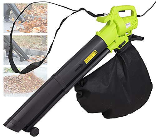 3000W Garden Leaf Blower Vacuum Shredder, 3 in 1 Leaf Blower with 35L Leaf Collection Bag, Carry Strap, Rolling Wheels, 10:1 Shredding Ratio, 10M Power Cable, Lightweight Compact for Home Garden Use
