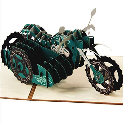 HUDETIE 3D Pop Up Motorfiets Wenskaart Vaderdag Verjaardag Kerstcadeau