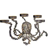 smtyle Candle Holders DIY Octopus Candelabra for Tealight Set of 5 Decorated on Desk or Table or Fireplace with Rustic Gold