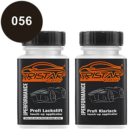 TRISTARcolor Autolack Lackstift Set für Mercedes/Daimler Benz 056 Magno Nachtschwarz Metallic Basislack Klarlack je 50ml