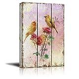 haiyilan Gelber Kanarienvogel auf Zweig mit rosa Rosen ohne Rahmen 16X24In Druckkunst Leinwand Wandkunst Leinwand Wandkunst Drucke Poster Wandkunst Wandkunst für EIN Schlafzimmer Modern