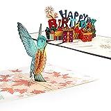Dorart 2 Pezzi Biglietto Auguri Compleanno, Buono Regalo 3D Pop up, Biglietti Auguri Compleanno per Bambini, Amica, Amore, Donna, Mamma, Busta Inclusa ( Buon Compleanno e Uccello Colorato)