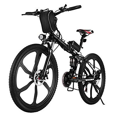 VIVI Folding Electric Bike, Electric Mountain Bike for Adults 350W Ebike 26'' Electric Bicycle with Removable 8Ah Battery, Professional 21 Speed Gears, Full Suspension (26inch-Black)