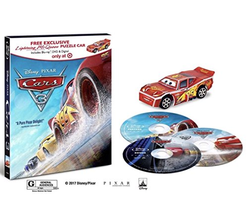 Cars 3 bluray dvd digital target exclusive lightning McQueen puzzle car exclusive [Unknown Binding]
