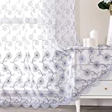 Jiyoyo M8202 White and Grey Lace Floral Sheer Curtains for Bedroom Living Room 84 inches Long Embroidered Design Window Voile Drapes Rod Pocket, 1 Panel