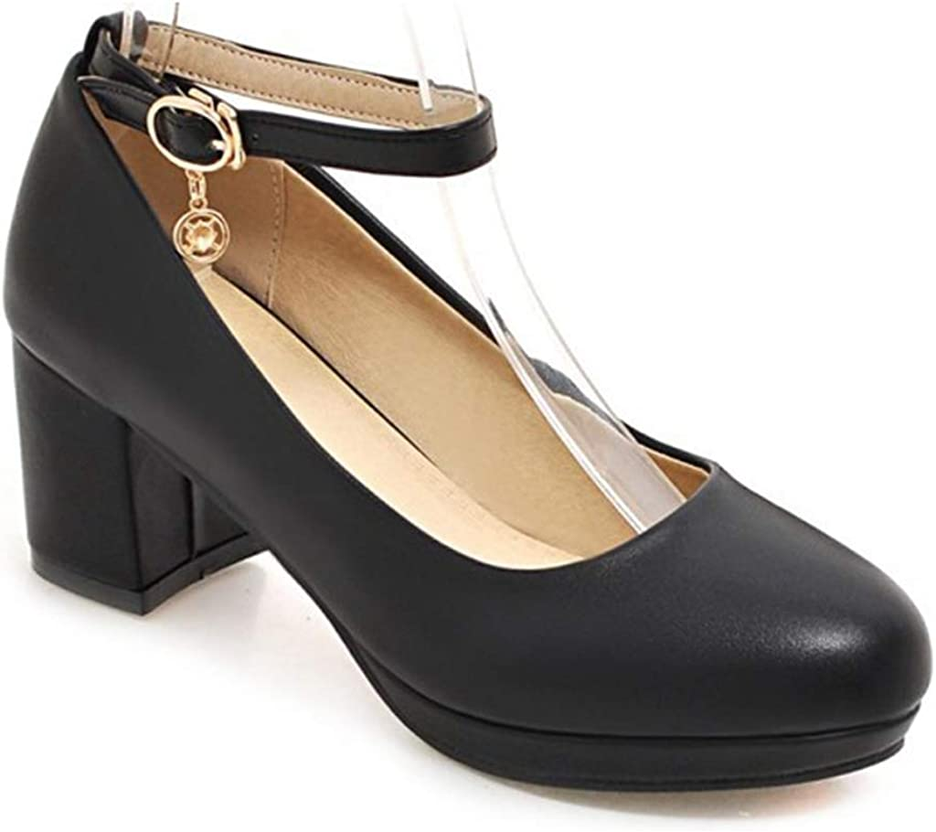 MIOKE Women's Round Toe Chunky Mid Heel Com Pumps Super Special SALE held Ranking integrated 1st place Block Platform