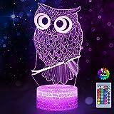 Lámpara de ilusión 3D, búho 3D, luz nocturna 3D , luz de ilusión de búho con 16 colores...