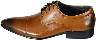 Rui Landed オックスフォードロートップポインテッドカプトブロックヒールソリッドカラービジネススタイルレースアップオックスフォードプレミアムレザーダービーシューズ (Color : 褐色, サイズ : 26.5 CM)