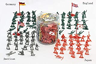 JIETENGFEI Army Action Figures.200 Piece Soldier Toys of World War 2.Army in 4 Colors with 4 Flags,America England Germany and Japan in A Bucket 6.3 in X 6.5 in