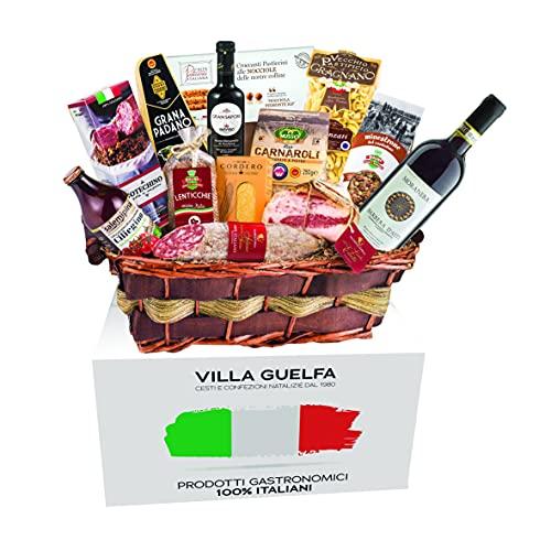 Villa Guelfa Cesta de Navidad ''Leonardo'' Línea 100% italiana, Especialidades Gastronómicas en Caja Regalo para Navidad