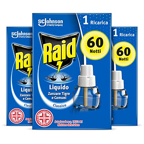 Raid Antizanzare Elettrico Liquido, 3 Ricariche x 60 Notti, Efficace contro Zanzare Tigre e Comuni, 3x36ml