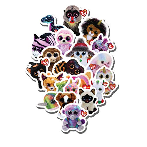 20 PCS Stickers Pack Beanie Aesthetic Boo Vinyl Colorful Waterproof for Water Bottle Laptop Scrapbooking Luggage Guitar Skateboard
