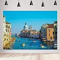 写真の 旅行風景の背景のためのZhyヴェネツィアウォーターシティ背景 7x5ft / 2.1x1.5m パーティーの装飾用品写真撮影小道具130