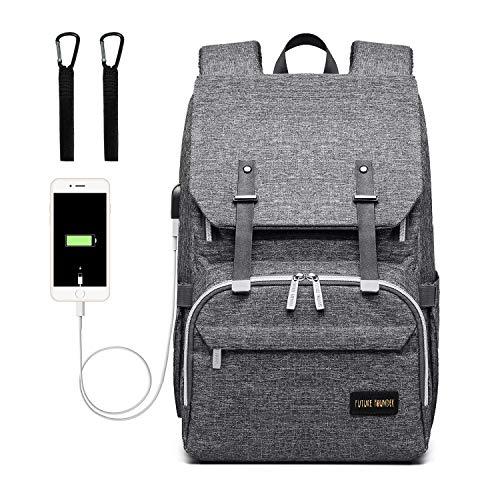 Baby Wickelrucksack Wickeltasche mit Wickelunterlage und Kinderwagen Haken USB-Lade Port Multifunktional Oxford Wasserdichte Große Kapazität Babytasche für Reise,Dunkelgrau