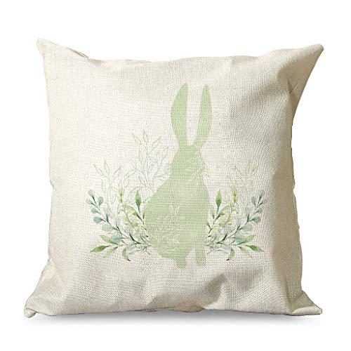 Gamoii Fundas de cojín decorativas de lino con diseño de conejos de Pascua, flores, color verde, con cremallera oculta, para decoración del hogar, 45 x 45 cm, color blanco