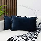 JUSPURBET Decorative Pom Poms Pillow Covers,Pack of 2 Soft Velvet Cushion Case for Couch Sofa Bedroom,16x24 Inches,Dark Blue