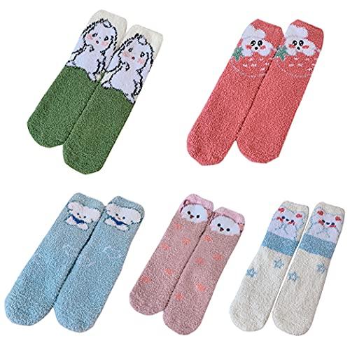 Licogel Novelty Casual Fashion Fluffy Sleeping Socks Adorable Soft 5 Pairs Fuzzy Cartoon Cozy Breathable Slipper Socks Warm