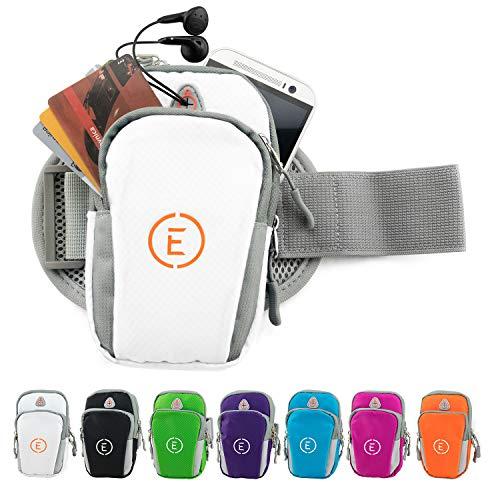 Echelon Line Premium Fitness Armband Handy Hülle Arm Jogging Tasche Rennen Workout Smartphone Laufen Sportarmband Schlüssel Halter für iPhone und Samsung (Weiß) …