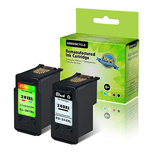 GREENCYCLE Remanufactured PG-240XL 240 XL CL-241XL 241 XL Ink Cartridge Compatible for Canon PIXMA MG3620 MG4220 MG3220 MG2220 MX432 MX512 MG3522 Printer (Black, 1 Pack ; Tri-Color, 1 Pack)
