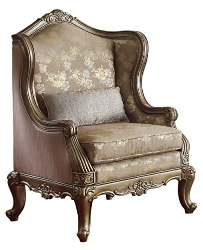 Homelegance HO- Traditional Accent Chair w/Faux Silk & Leaf Scrolling Acccent, 31.5 x 31 x 47.5, Brown/Taupe