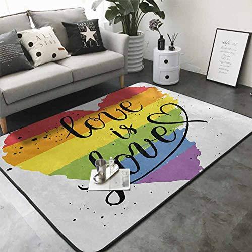 Door Mat Living Room Non-Slip LGBT Gay Lesbian Parade Love Valentines Inspiring Hand Writing Paint Strokes Artistic 60'x 72' American Floor mats