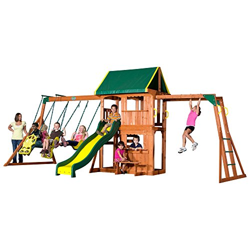 Backyard Discovery Prairie Ridge All Cedar Wood Playset Swing Set