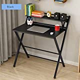 Computer Folding Desk Small Study Desks for Home Office Small Writing Desk Table with Shelves (Black)