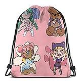 Almost-Okay-Shop Chibi Cuties In Pink - Bolsa de deporte con cordón, bolsa de viaje, bolsa de regalo