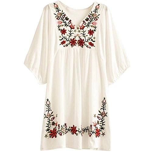 Asher White Mexican Embroidered Peasant Dressy Tops Blouses (One Size, Beige)