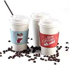 Christmas Paper Coffee Cups with Lids (50-Count, White) Disposable Hot & Cold Drinkware w/ Holiday Insulated Sleeves   Santa, Stocking, Reindeer   Party, Tea, Cocoa