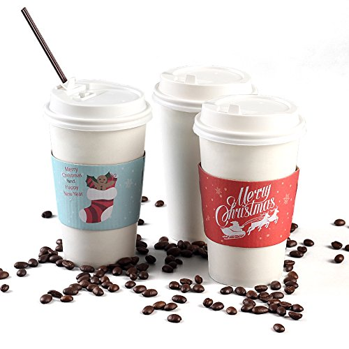 Christmas Paper Coffee Cups with Lids (50-Count, White) Disposable Hot & Cold Drinkware w/ Holiday Insulated Sleeves | Santa, Stocking, Reindeer | Party, Tea, Cocoa