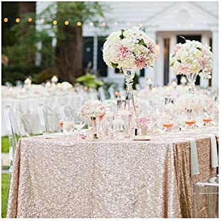 B-COOL Champagne Blush Sequin Tablecloth 50x80 Inch RECTANGULAR Glitter Tablecloth for Halloween Thanksgiving Day Wedding Party Curtain Birthday Christmas New Year Other Event Decor