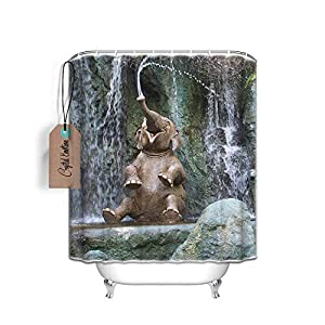 Crystal Emotion Funny Elephant Shower Curtain, 60x72inch, Bathroom Shower Curtain Set with Hooks, Waterproof Polyester Bath Curtains