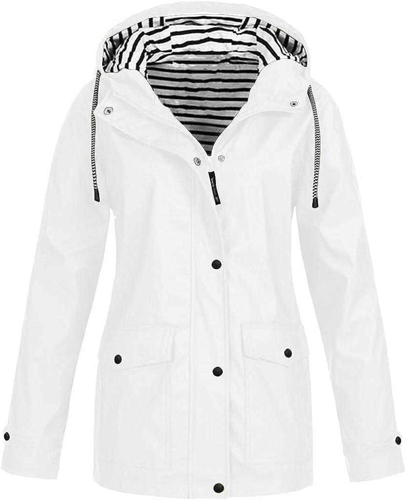 FGDJEE Womens Casual Jacket Zip Up Outerwear Windbreaker Plus Size Hooded Windproof Loose Coat Sportswear