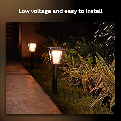 Philips Hue White & Color Ambiance Econic Outdoor Smart Pathway light Extension(Hue Hub & Base Kit required), 1 light + mounting kit, works with Alexa