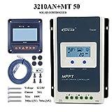 EPEVER MPPT Controlador de Carga Solar Trazador A Serie 30A con 12V/24V DC Automatically Identifying System Voltage(30A+MT50)