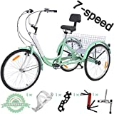 VANELL 7/1 Speed Tricycle Adult 20/24/26 in Trike Cruise Bike 3...
