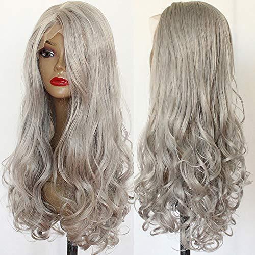 Platinumhair Gris ondulés Cheveux synthétiques Perruque lace front Cheveux longs Wavys Naturel Hairline résistant à la chaleur Perruque synthétique avec Wave Perruque pour femme de beauté 61 cm