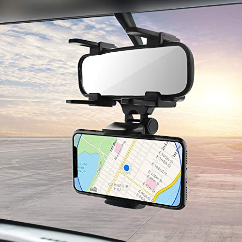 Car Rearview Mirror Hanging Holder Mount Stand Cradle Universal 360 Degrees Auto Bracket Holder for iPhone and Android Smartphone GPS